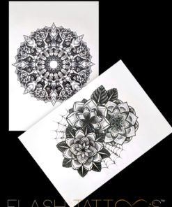 Insane Mandala Black Ink Flash Tattoos