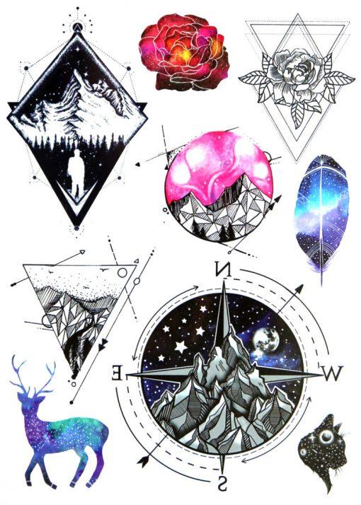 Geometric Nature Flash Tattoos Romania Black Ink