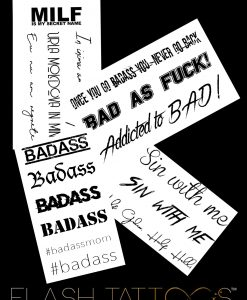 Badass by Giulia X Flash Tattoos Black Ink Tatuaje Temporare