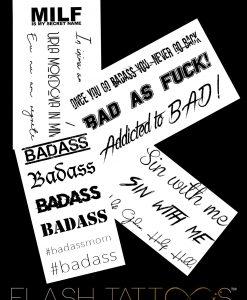 Badass by Giulia X Flash Tattoos Black Ink Tatuaje Temporare