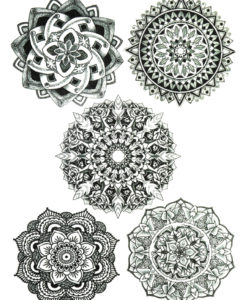 Mandalas Black Ink Flash Tattoo Tatuaje Temporare