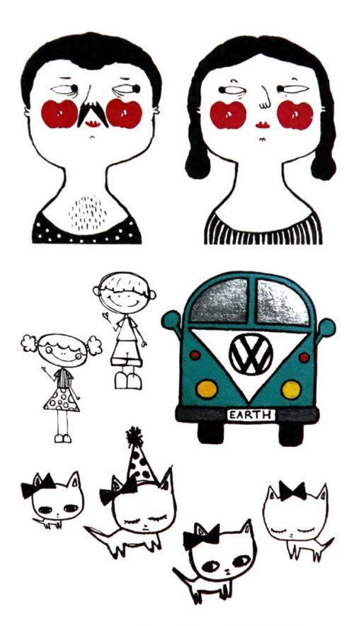 Shiny Happy People Black Ink Flash Tattoos Romania Tatuaje temporare 1