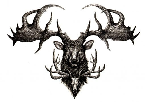 Carpatian Stag FlashTattoos Romania Blackink