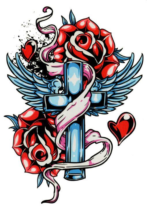 Old School Cross Black Ink Flash Tattoos Romania