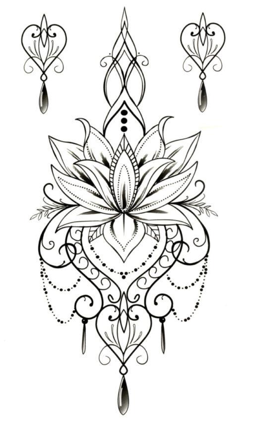 Lotus Flower Mandala Flash Tattoos Romania Tatuaje temporare