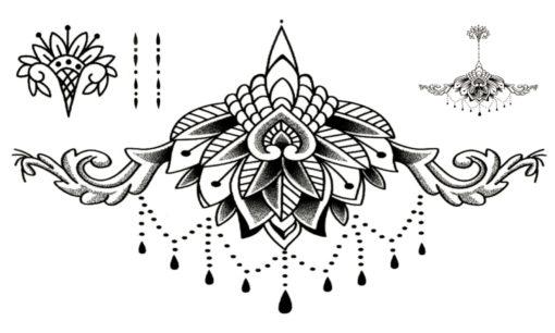 Underboobs Mandala Flash Tattoos Tatuaje temporare