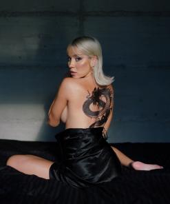 The Dragon by Alina Ceusan Flash Tattoos Black Ink Back Tattoo