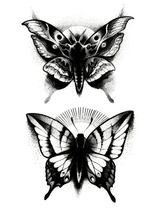 Moth Black Ink Flash Tattoos Romania Tatuaj Temporar