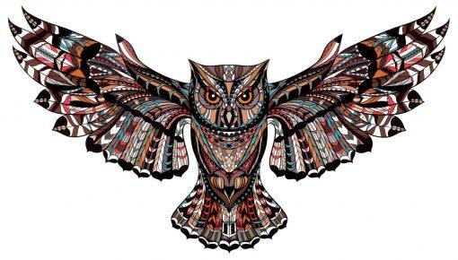 The Owl Black Ink Flash Tattoos Romania Tatuaj temporare bufnita
