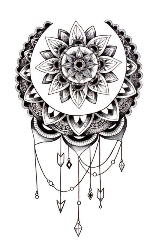 She's a wanderer Mandala Black Ink Flash Tattoos Romania Tatuaj temporar