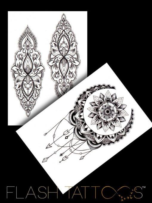 She's a wanderer Mandala Black Ink Flash Tattoos Romania Tatuaje temporare